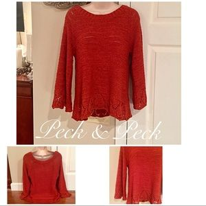 Peck & Peck rust summer sweater w flare sleeves